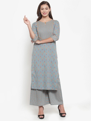Indibelle Grey printed cotton kurtas-and-kurtis