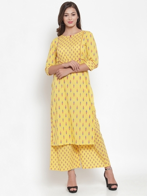 Indibelle Yellow printed cotton kurtas-and-kurtis