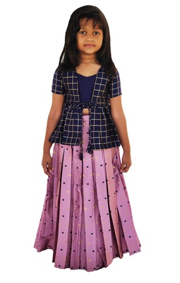 Kids Blue Top And Pink Lehenga Choli Set