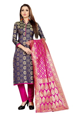 NAVY BLUE JACQUARD UNSTITCHED SALWAR WITH DUPATTA