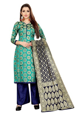SEAGREEN JACQUARD UNSTITCHED SALWAR WITH DUPATTA