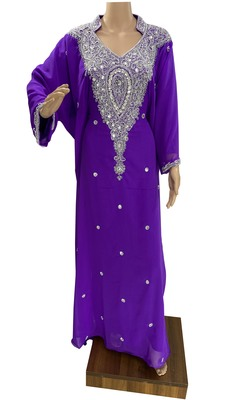 light purple georgette moroccan islamic dubai kaftan farasha zari and stone work dress