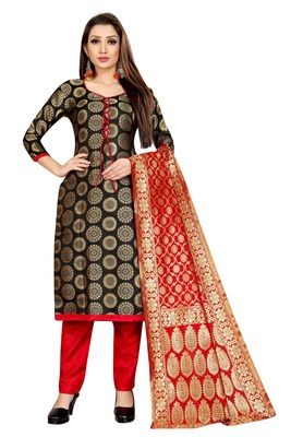 BLACK JACQUARD UNSTITCHED SALWAR WITH DUPATTA