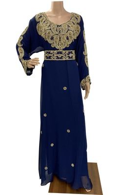 navy blue moroccan islamic dubai kaftan farasha zari and stone work dress