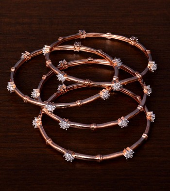 Rose Gold Plated AAA CZ Embellished Two Pairs of Designer Bangles BD426