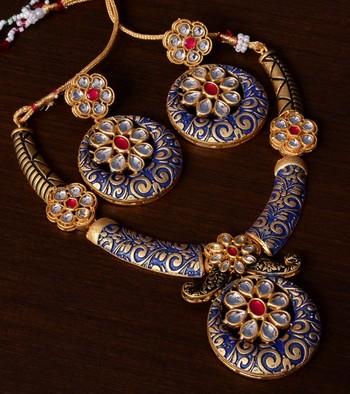 Kundan Embellished Blue Meenakari Worked Designer Necklace 317FNN172