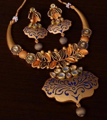 Kundan Embellished Blue Meenakari Worked Designer Necklace 317FNN174