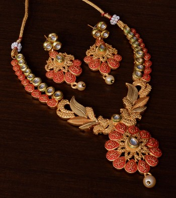 Kundan Embellished Red Meenakari Worked Designer Necklace 317FNN177