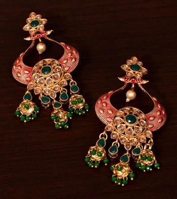 Kundan and Stone Embellished Designer Danglers for Wedding 217EDS251
