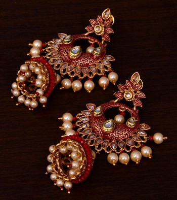 Kundan and Stone Embellished Designer Danglers for Wedding 217EDS253