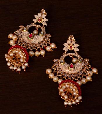 Kundan and Stone Embellished Designer Danglers for Wedding 217EDS254