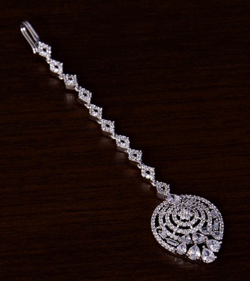 Rhodium Plated American Diamond Embellished Designer Maang Tikka 217MTS125