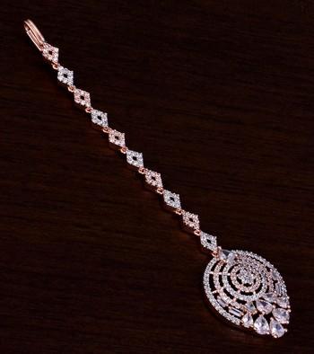 Rose Gold Plated American Diamond Embellished Designer Maang Tikka 217MTS126