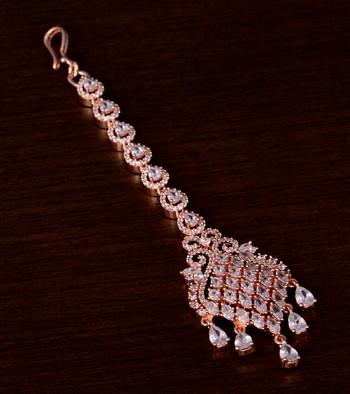 Rose Gold Plated American Diamond Embellished Designer Maang Tikka 217MTS127