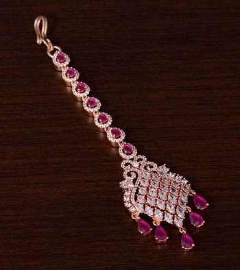 Rose Gold Plated Ruby and AD Stone Embellished Designer Maang Tikka 217MTS128