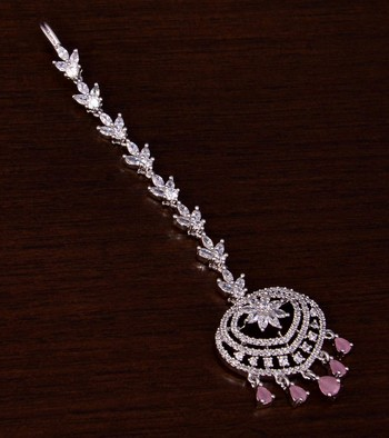 Rhodium Plated Baby Pink and AD Stone Embellished Designer Maang Tikka 217MTS130
