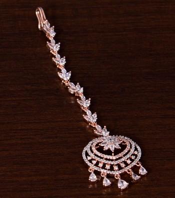 Rose Gold Plated American Diamond Embellished Designer Maang Tikka 217MTS131
