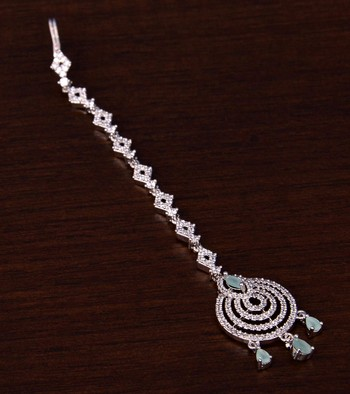 Rhodium Plated Mint and AD Stone Embellished Designer Maang Tikka 217MTS132