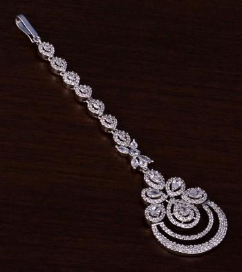 Rhodium Plated American Diamond Embellished Designer Maang Tikka 217MTS134