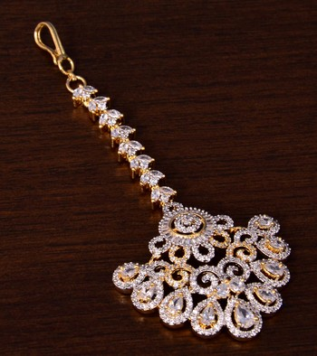 Gold Plated American Diamond Embellished Maang Tikka 217MTS136