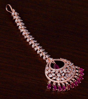 Rose Gold Plated Ruby and AD Stone Embellished Designer Maang Tikka 217MTS137