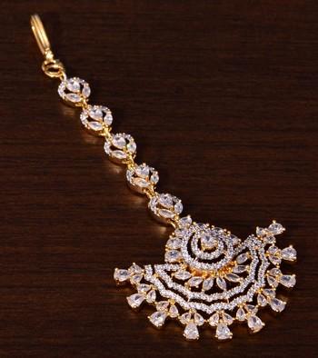 Gold Plated American Diamond Embellished Designer Maang Tikka 217MTS138