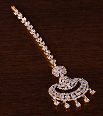 Gold Plated American Diamond Embellished Designer Maang Tikka 217MTS139