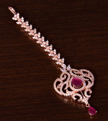 Rose Gold Plated Ruby and AD Stone Embellished Designer Maang Tikka 217MTS140