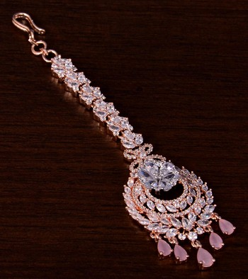 Rose Gold Plated Pink and AD Stone Embellished Designer Maang Tikka 217MTS142