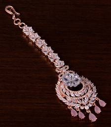Rose Gold Plated Pink and AD Stone Embellished Designer Maang Tikka 217MTS142