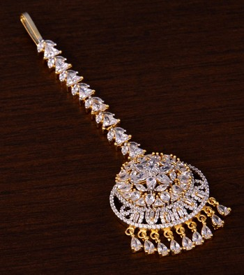 Gold Plated American Diamond Embellished Designer Maang Tikka 217MTS143