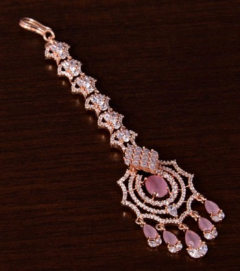 Rose Gold Plated Pink and AD Stone Embellished Designer Maang Tikka 217MTS144