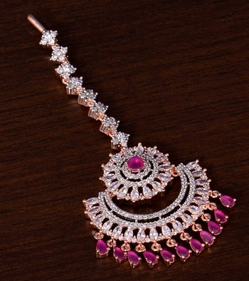 Rose Gold Plated Ruby and AD Stone Embellished Designer Maang Tikka 217MTS145