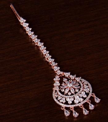 Rose Gold Plated American Diamond Embellished Designer Tikka 217MTS146