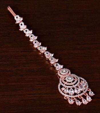 Rose Gold Plated American Diamond Embellished Designer Tikka 217MTS147