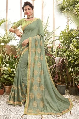 Light green embroidered chanderi silk saree with blouse