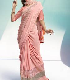 Pink plain velvet saree with blouse