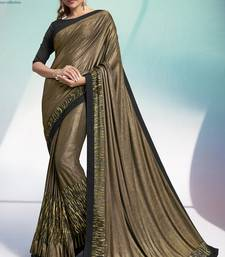 Gold plain velvet saree with blouse