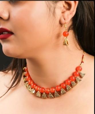 Orange pearl necklaces