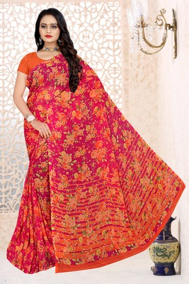 Red Pure Chiffon floral printed saree