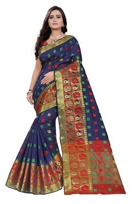 Navy Woven Cotton Saree With Blouse