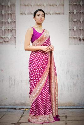 Blushing Pink Jacquard Weaving Saree With Blouse Piece