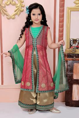 Pink Embroidered Net Kids Salwar Suits