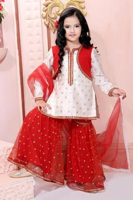 White embroidered chanderi silk kids salwar suits
