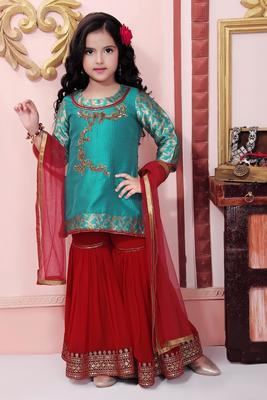 Green embroidered brocade kids salwar suits