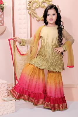Beige embroidered net kids salwar suits