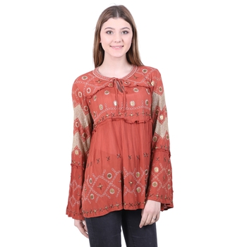 Red Embroidered Blended Cotton Top