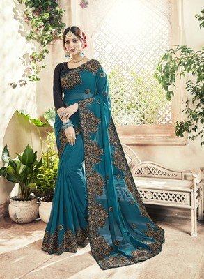 Teal embroidered georgette saree with blouse