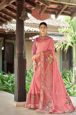 Peach embroidered fancy fabric saree with blouse