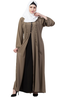 Front double layered abaya with embroidery work